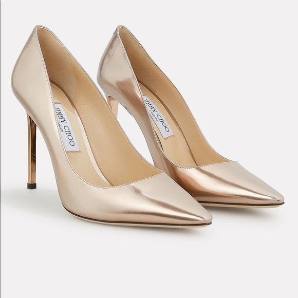 Nwt Rose Gold Leather Metallic Pumps